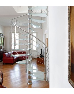 Стеклянная лестница   ЛС 2 винтовая  больцевая