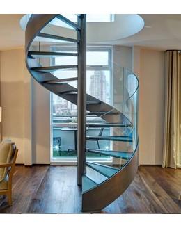 Стеклянная лестница   ЛС 3 винтовая на тетиве