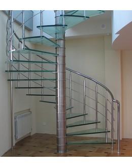 Стеклянная лестница   ЛС 5 винтовая больцевая