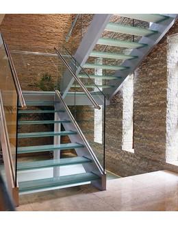 Стеклянная лестница  ЛС 6 прямая на тетиве