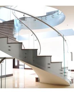 Кольцевая лестница КО-8 с ограждением из стекла