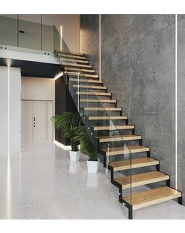Маршевая лестница М16 прямая на косоуре